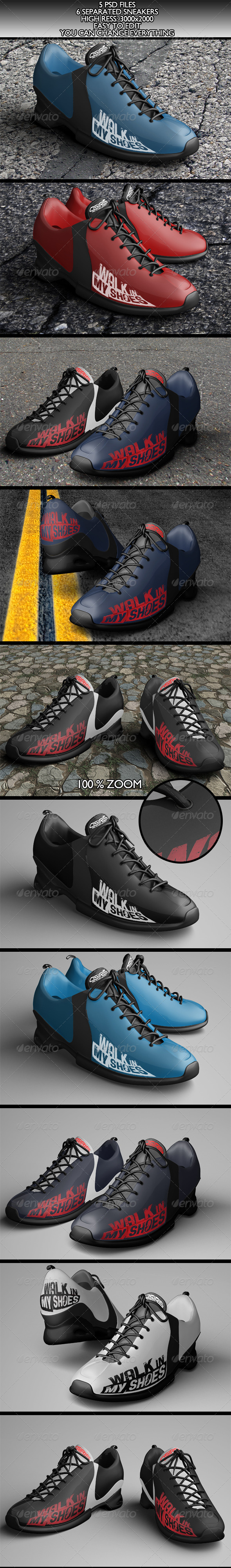 6 Realistic Sneakers Mock-Ups Vol.1 - Product Mock-Ups Graphics