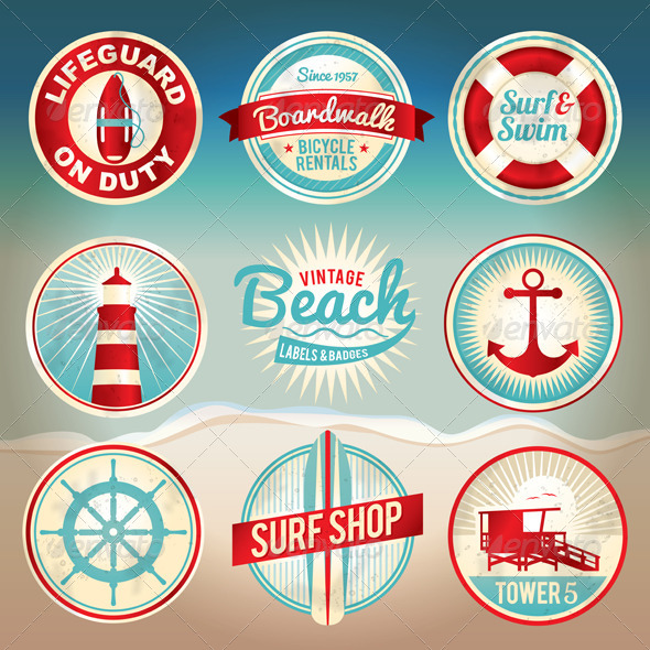 Vector Vintage Beach Labels and Badges - Travel Conceptual