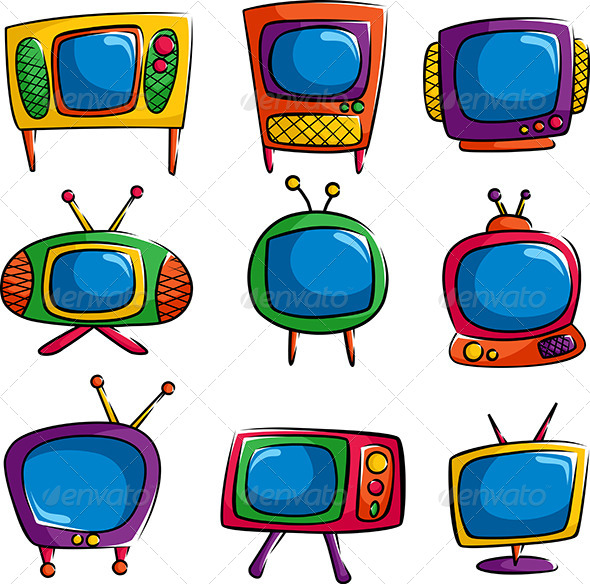 Television Icons - Objects Vectors
