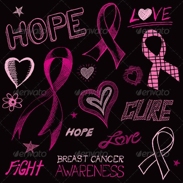 Breast Cancer Awareness Sketch - Health/Medicine Conceptual