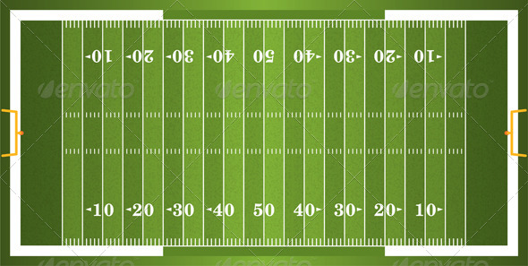 Vector Textured Grass American Football Field - Sports/Activity Conceptual