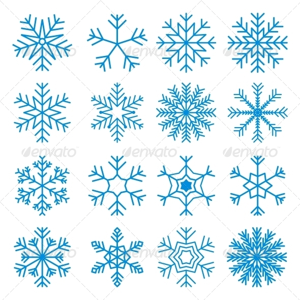 Snowflakes Icons Set - Christmas Seasons/Holidays