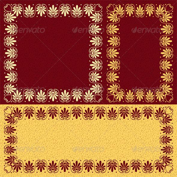 Vector Floral Gold Greek Ornament (Meander) - Patterns Decorative