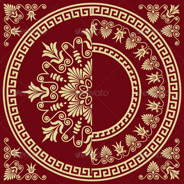 Vector Vintage Gold Greek Ornament (Meander) - Patterns Decorative