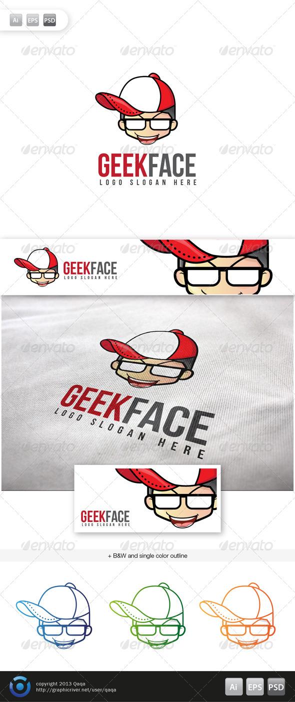 Geek Face Logo - 16 - Humans Logo Templates