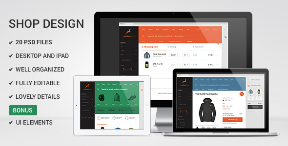 Multipurpose Flat Shop design – PSD Template