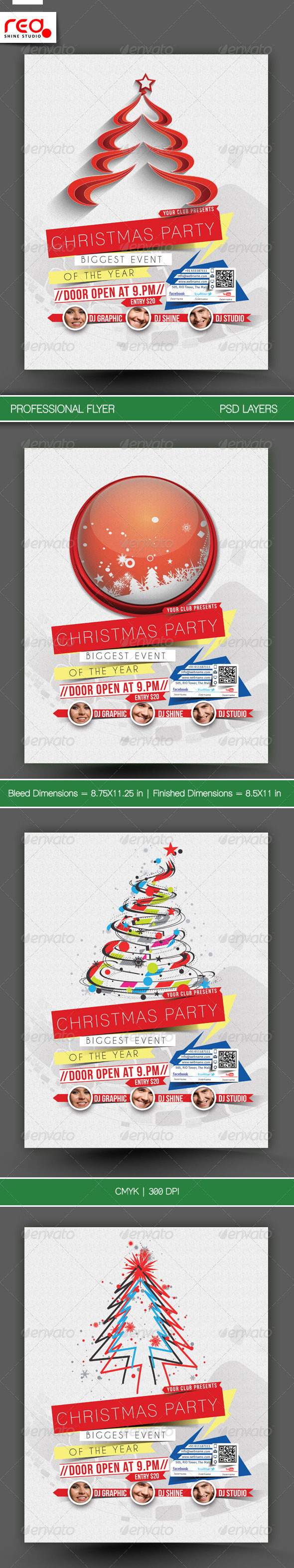 Christmas Party Flyer & Poster Template - 3 - Clubs & Parties Events