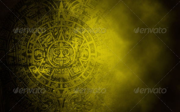 Mayan Calendar on Old Stone Texture - Abstract Backgrounds