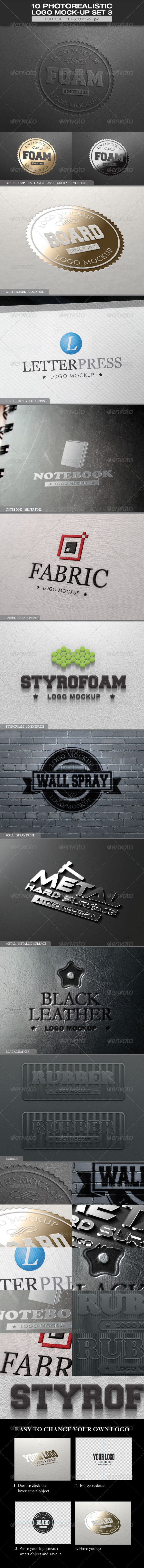 10 Photorealistic Logo Mock-up Set 3 - Logo Product Mock-Ups