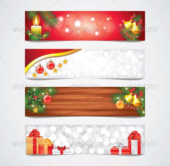 Christmas Holidays Vector Banners Set - Web Elements Vectors