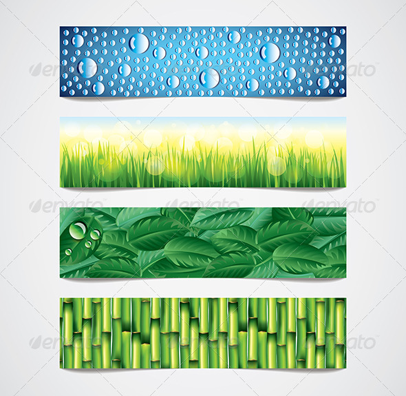 Nature Patterns Vector Banners Set - Web Elements Vectors