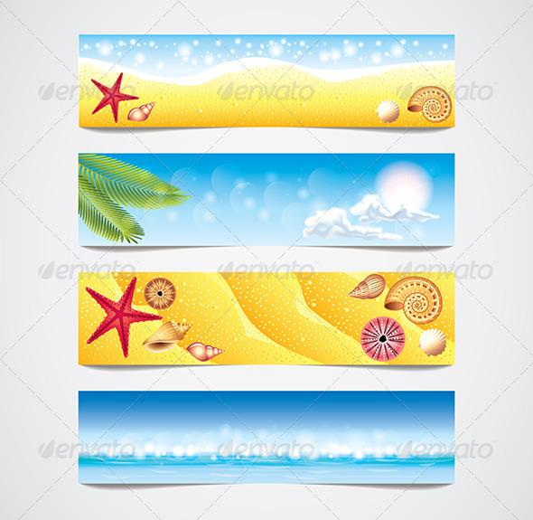Tropical Beach Vector Banners Set - Web Elements Vectors