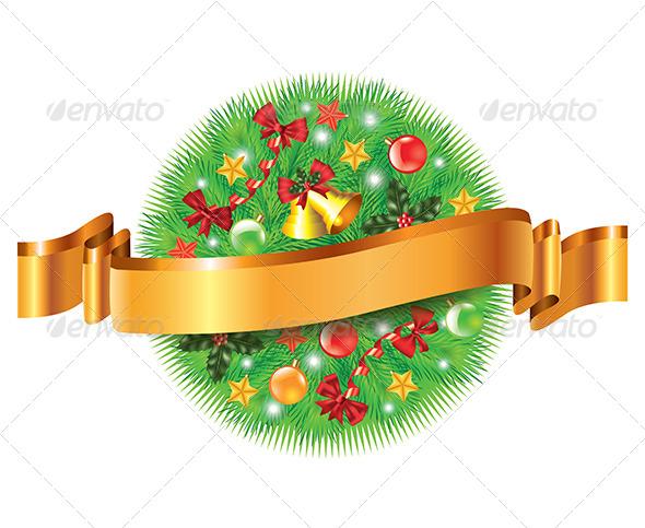 Christmas Decorated Fir-Tree Sphere and Ribbon - Christmas Seasons/Holidays