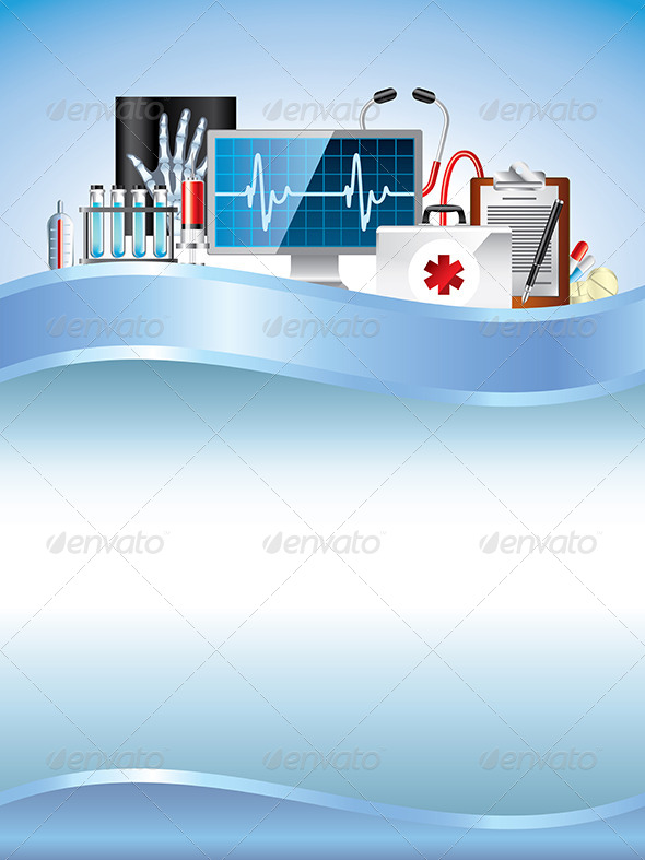 Medical Equipment on Blue Vector Background - Health/Medicine Conceptual