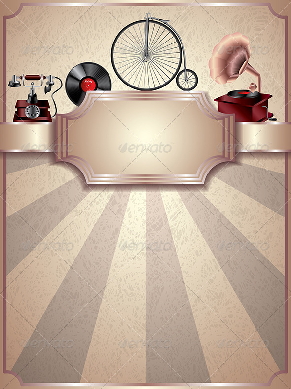 Vintage Vector Background, Retro Objects - Retro Technology