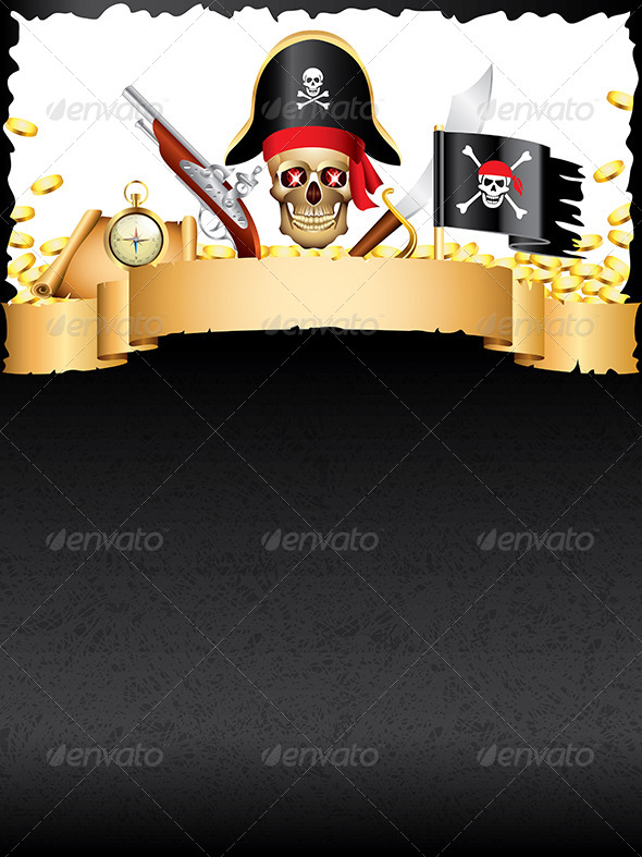 Pirates and Treasures Vector Background - Miscellaneous Vectors