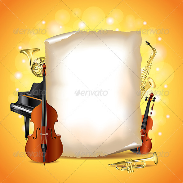 Musical Instruments with Blank Paper, Vector - Miscellaneous Vectors