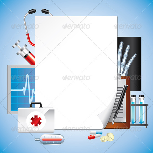 Medical Equipment with Blank Paper, Vector - Health/Medicine Conceptual