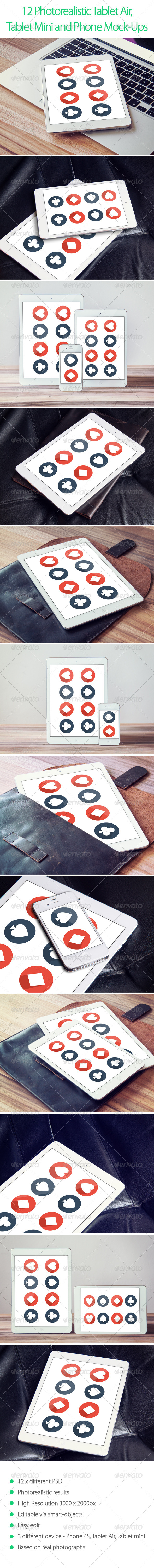 12 Photorealistic Tablet and Phone Mock-Ups - Displays Product Mock-Ups