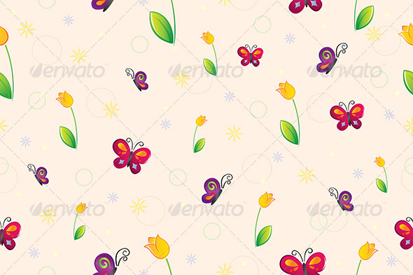 Spring Seamless Wallpaper - Decorative Vectors