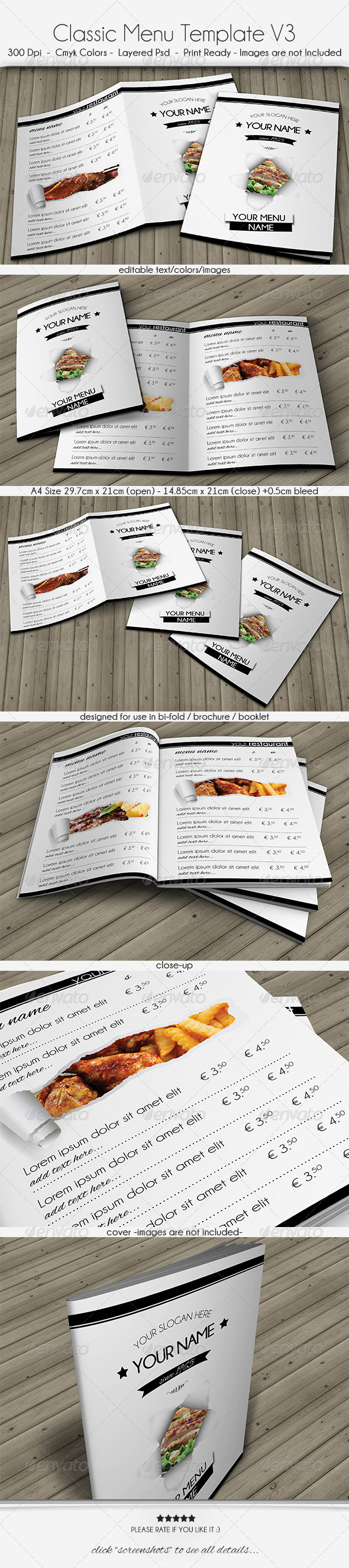 Classic Menu Template V3 - Food Menus Print Templates