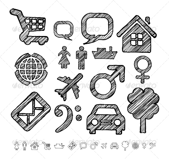 Group of Icons for Infographic in Doodle Style  - Travel Conceptual