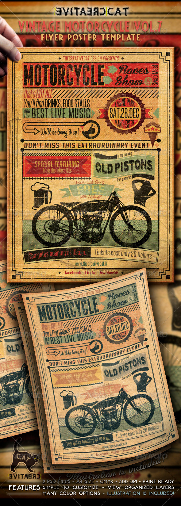 vintage motorcycle flyerposter vol 7 events flyers