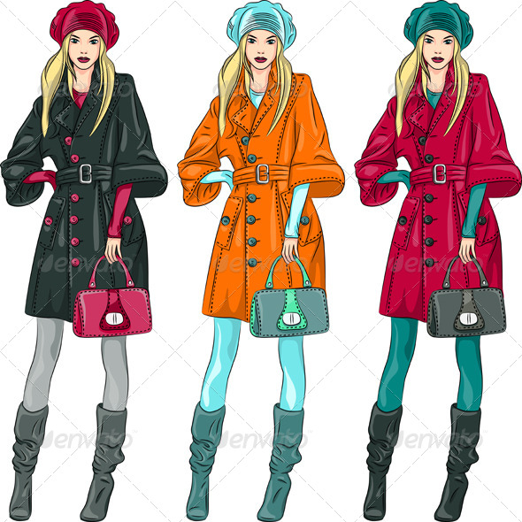 Vector Fashion Girls Top Models  - People Characters