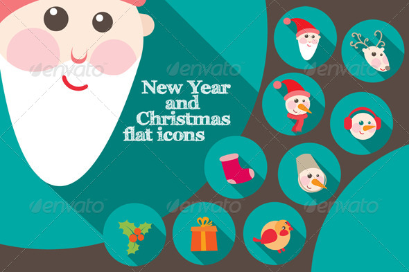 New Year And Christmas Flat Icons - Miscellaneous Characters