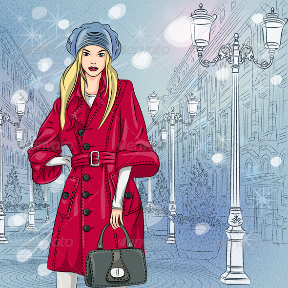 Vector Fashionable Girl on the Christmas in St. Petersburg - People Characters