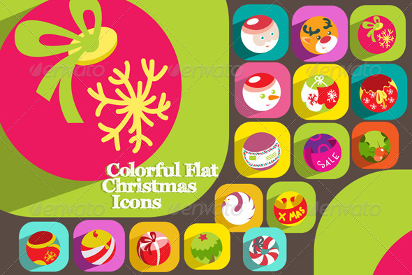 16 Colorful Flat Christmas Icons - Miscellaneous Characters
