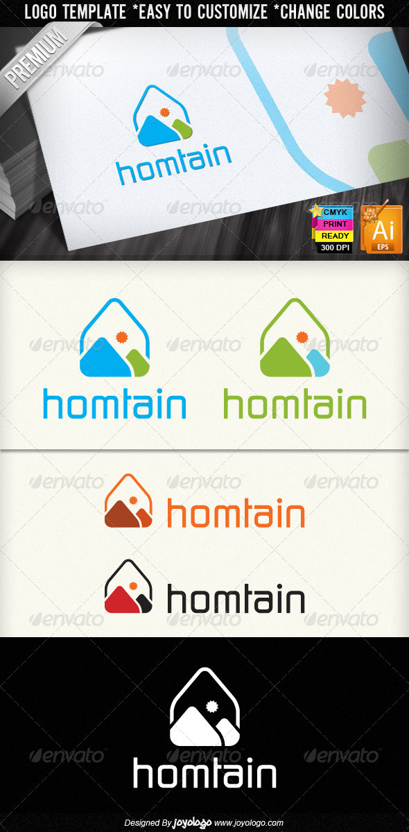 Hometain Sun Real Estate Agent House Logo Design  - Buildings Logo Templates