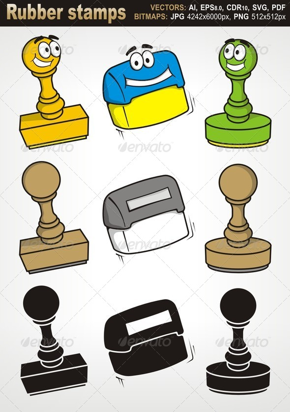 Rubber Stamps - Man-made Objects Objects