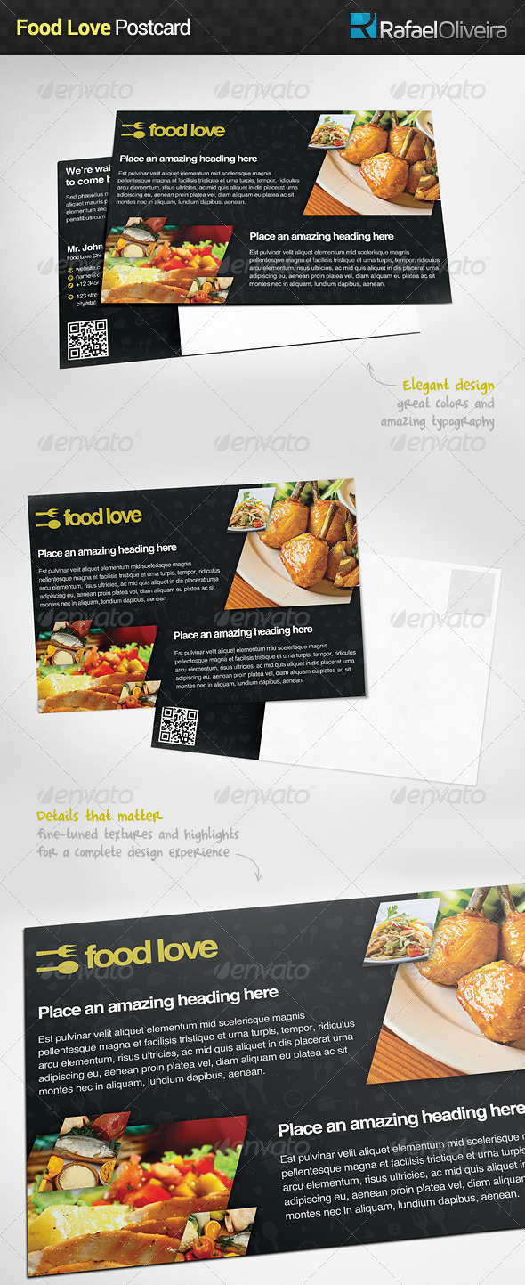 Food Love Postcard - Stationery Print Templates