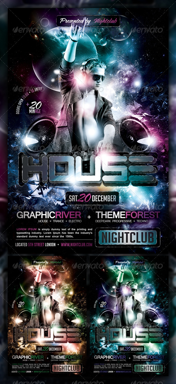 House / Trance / Electro Party Flyer / Poster - Clubs & Parties Events