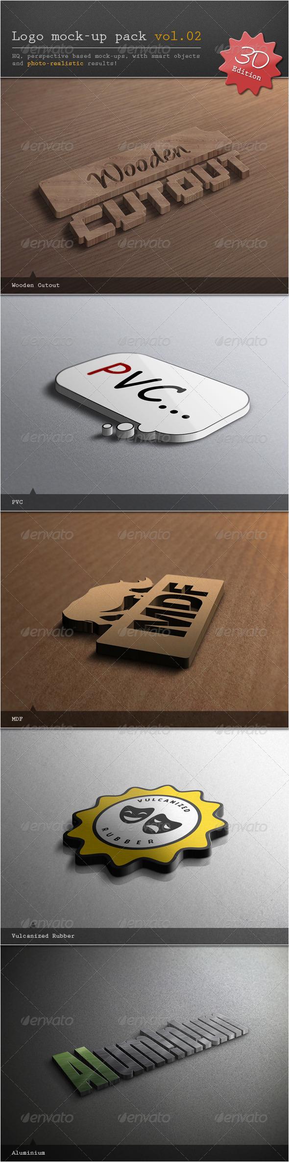 Logo Mock-up Pack Vol.02 / 3D Edition - Logo Product Mock-Ups