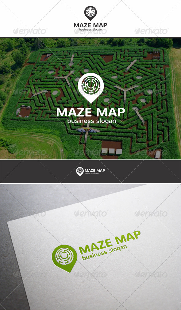 Maze Map Locator Logo - Objects Logo Templates