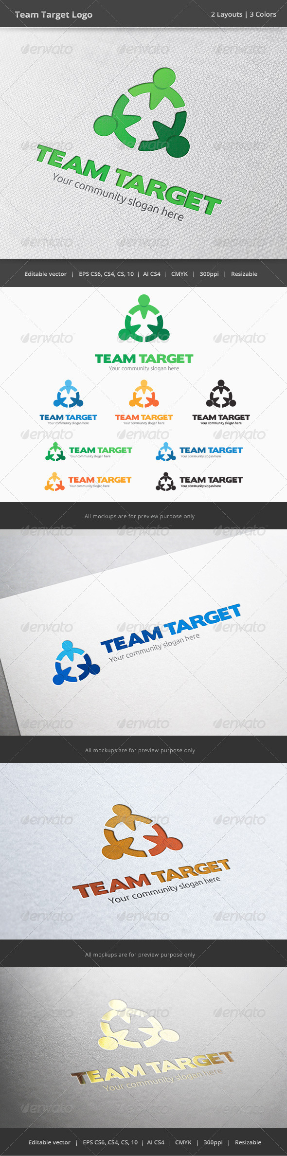 Team Taget People Logo - Humans Logo Templates