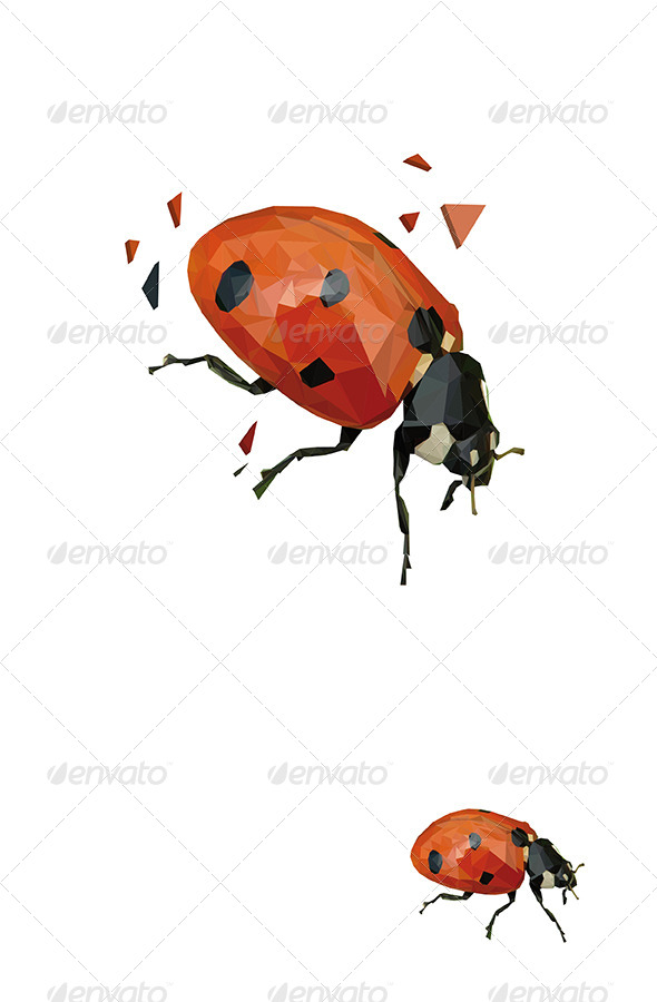 Ladybug Vector Triangled - Animals Characters
