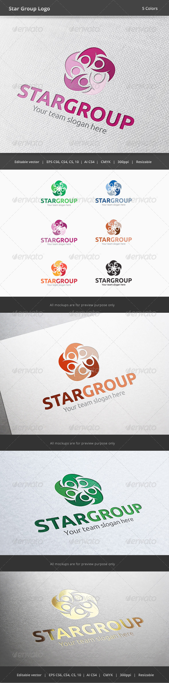 Star Group People Logo - Humans Logo Templates