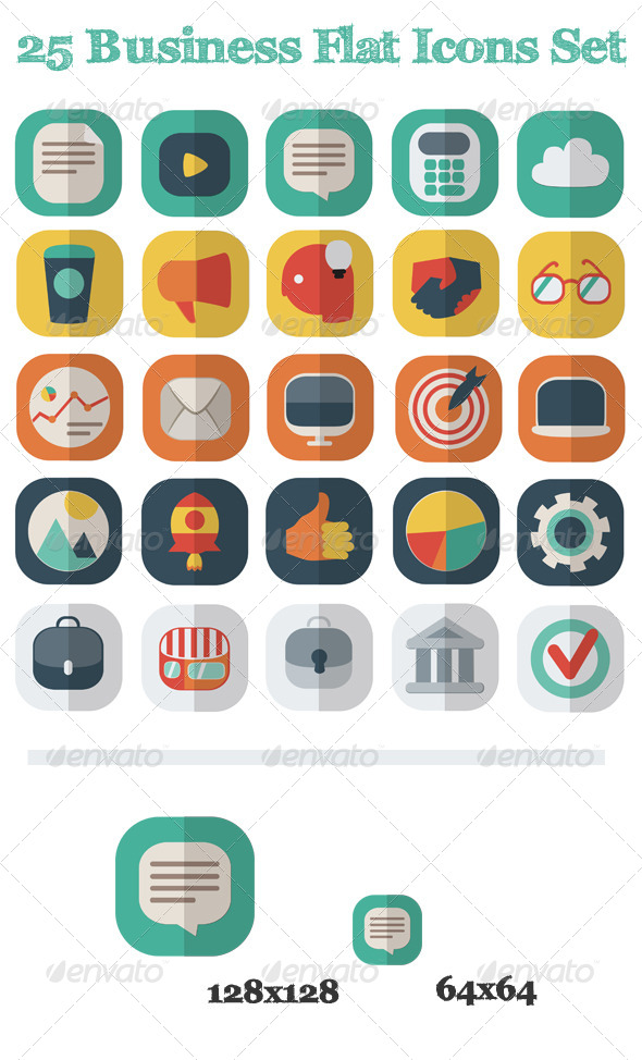 25 Business Flat Icons Set - Business Icons
