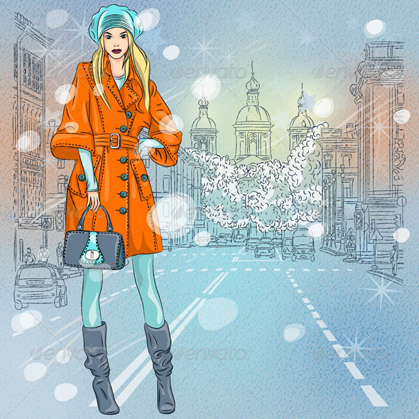 Fashionable Girl on the Avenue in St. Petersburg - People Characters