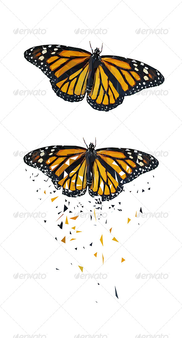 Butterfly Vector Triangled - Animals Characters