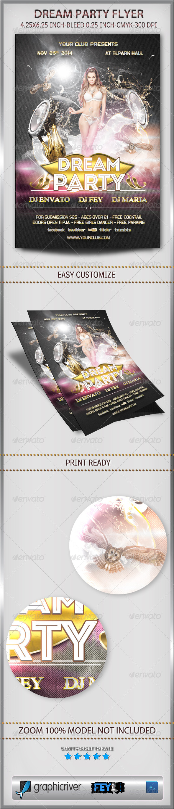 Dream Party Flyer - Flyers Print Templates