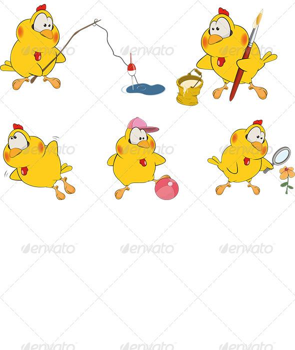 Chicken Clip Art Cartoon  - Animals Characters