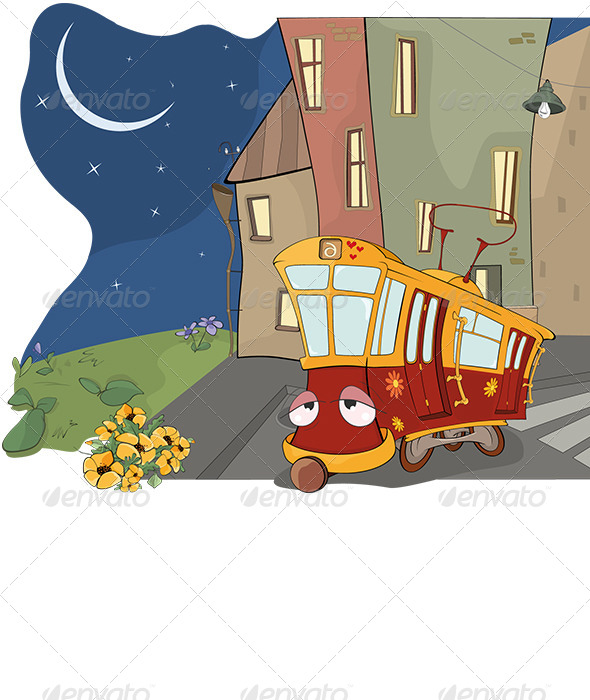 Fairy Tale on a Tired Red Tram Cartoon - Seasons/Holidays Conceptual