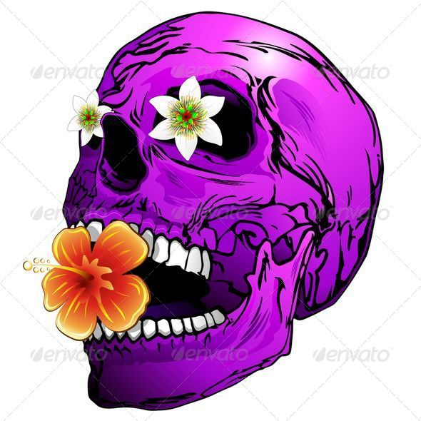 Purple Skull with Tropical Flowers - Decorative Symbols Decorative
