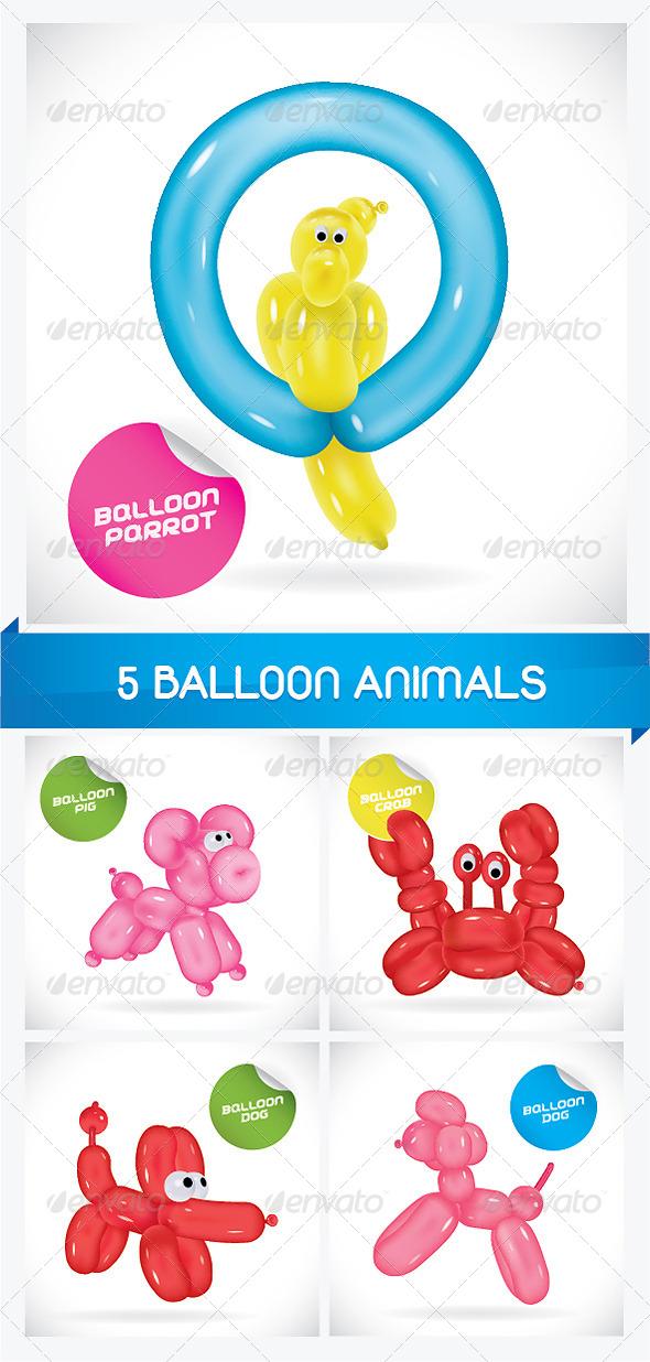 5 Balloon Animals - Animals Characters