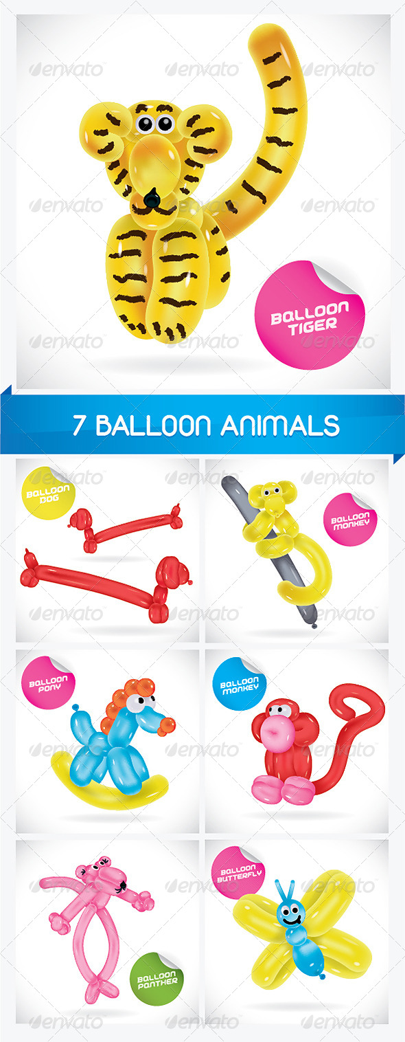 7 Balloon Animals - Animals Characters