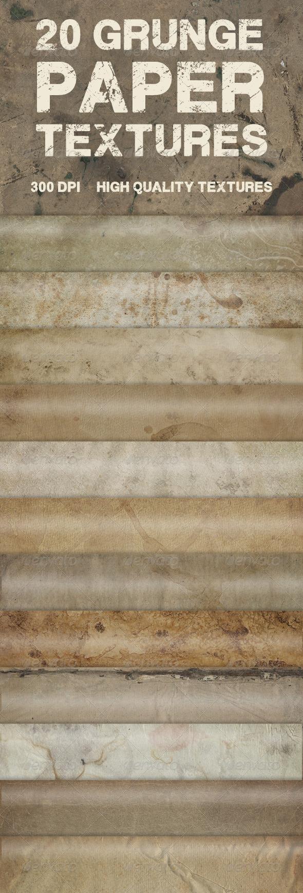 20 Grunge Paper Textures - Paper Textures